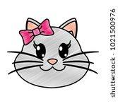 grated female cat head cute... | Shutterstock .eps vector #1021500976