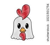 grated rooster head cute animal ... | Shutterstock .eps vector #1021501756