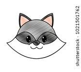 grated raccoon head cute animal ... | Shutterstock .eps vector #1021501762