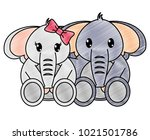 grated couple elephant cute... | Shutterstock .eps vector #1021501786