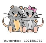 grated mouse couple cute animal ... | Shutterstock .eps vector #1021501792