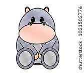 grated hippopotamus cute wild... | Shutterstock .eps vector #1021502776