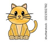 grated happy cat cute animal... | Shutterstock .eps vector #1021502782