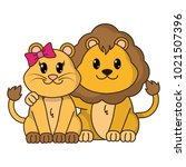 lion couple cute animal together | Shutterstock .eps vector #1021507396