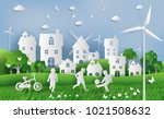 kids playing football in the... | Shutterstock .eps vector #1021508632