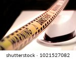 a yellow police tape ribbon ... | Shutterstock . vector #1021527082