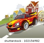 sports car racing in the suburbs of the city - stock photo