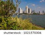 marina bay singapore asia...   Shutterstock . vector #1021570306