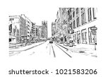 downtown street view with... | Shutterstock .eps vector #1021583206