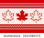 seamless knitting pattern with... | Shutterstock .eps vector #1021584172