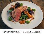 ros  duck breast with broccoli... | Shutterstock . vector #1021586086