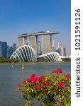 marina bay singapore asia...   Shutterstock . vector #1021591126