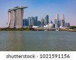 marina bay singapore asia...   Shutterstock . vector #1021591156