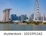 marina bay singapore asia...   Shutterstock . vector #1021591162