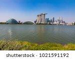 marina bay singapore asia...   Shutterstock . vector #1021591192