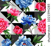 wildflower red and blue peonies ...   Shutterstock . vector #1021594285