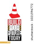 vector toy red traffic cone...   Shutterstock .eps vector #1021596772