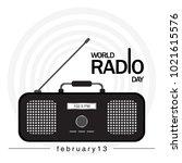 world radio day. radio icon... | Shutterstock .eps vector #1021615576