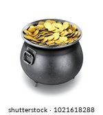 full pot of gold coins on a... | Shutterstock . vector #1021618288