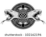 The vector image of head of snake and Celtic patterns