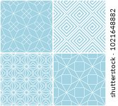 geometric patterns. set of blue ... | Shutterstock .eps vector #1021648882