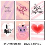 valentines day postcards set... | Shutterstock .eps vector #1021655482