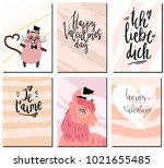 valentines day postcards set... | Shutterstock .eps vector #1021655485