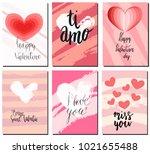 valentines day postcards set... | Shutterstock .eps vector #1021655488