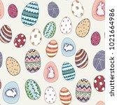 happy easter eggs cartoon... | Shutterstock .eps vector #1021664986