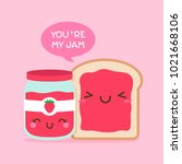 cute bread and jam illustration ... | Shutterstock .eps vector #1021668106