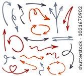 hand drawn arrow icons vector... | Shutterstock .eps vector #1021670902