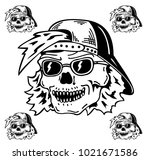 skull in the hat and sunglasses | Shutterstock .eps vector #1021671586