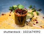 mixed fruit juice shrabat with... | Shutterstock . vector #1021674592