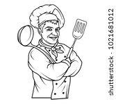 chef cook standing in a... | Shutterstock .eps vector #1021681012