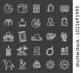 set of islamic vector icons | Shutterstock .eps vector #1021691995