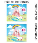 find ten differences.... | Shutterstock .eps vector #1021698382