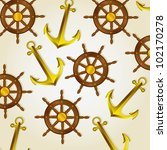 pattern of anchors and boat... | Shutterstock .eps vector #102170278