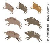 wild boar wild pig  animal... | Shutterstock .eps vector #1021705948