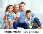 portrait of happy family with... | Shutterstock . vector #102170902
