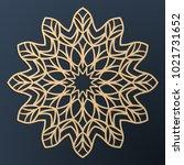 laser cutting mandala. golden... | Shutterstock .eps vector #1021731652