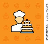 set of cake and desserts icons. ... | Shutterstock .eps vector #1021740196