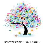 tree of toy. tree of joy with... | Shutterstock .eps vector #102175018
