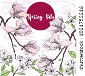 spring sale background with... | Shutterstock .eps vector #1021753216