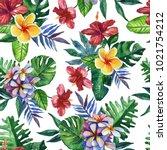 seamless hand drawn tropical...   Shutterstock . vector #1021754212