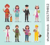 set of vector occupations | Shutterstock .eps vector #1021754812