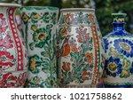 pottery from romanian ceramics  ... | Shutterstock . vector #1021758862
