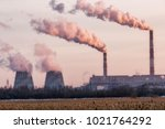 the factory emits dirty smoke... | Shutterstock . vector #1021764292