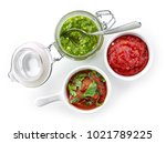 various homemade dip sauces... | Shutterstock . vector #1021789225