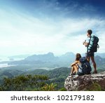 young backpackers enjoying a... | Shutterstock . vector #102179182