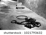 ancient iron shackles  used to... | Shutterstock . vector #1021793632